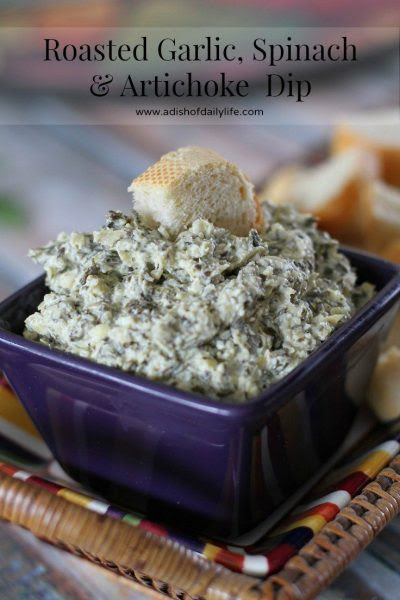 A Dish Of Daily Life Roasted Garlic Spinach Artichoke Dip Roasted garlic gives an added dimension of flavor to this spinach and artichoke dip! Donna