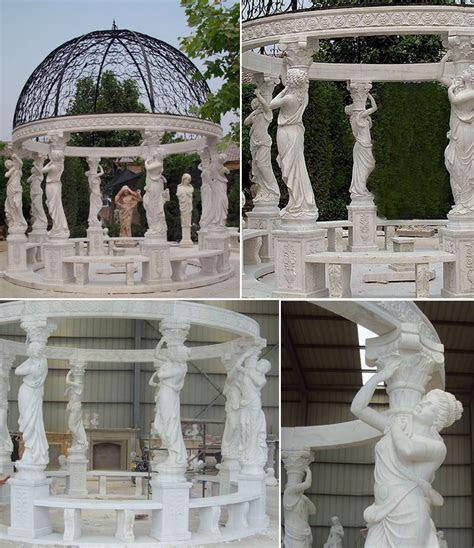 cheap high quality Egyptian beige marble pavilion gazebo