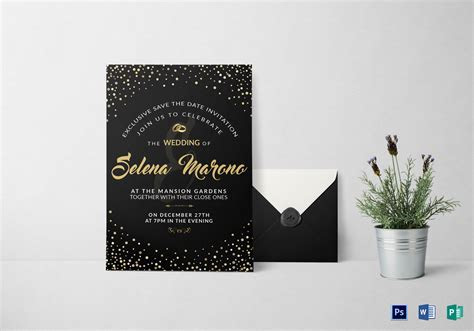Black and Gold Wedding Invitation Card Design Template in