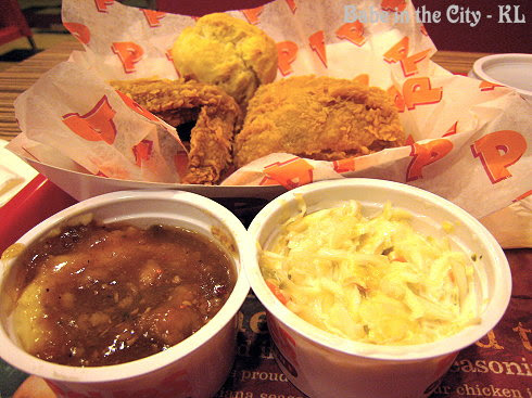 Popeye's Mash Potatoes with Cajun Gravy n Coleslaw
