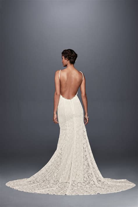 Soft Lace Wedding Dress with Low Back Style WG3827, Ivory, 14