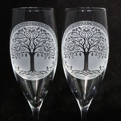 Celtic Tree of Life Champagne Glasses, Irish Wedding Gifts