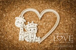 Tekturka - Chłopczyk z żyrafką ramka w sercu - Emma & Billy