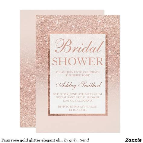 Faux rose gold glitter elegant chic Bridal shower
