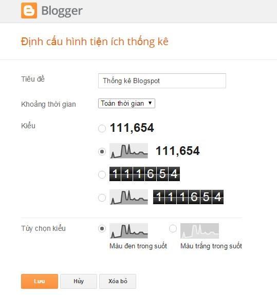 Thay đổi giao diện tiện ích thống kê cho blogspot