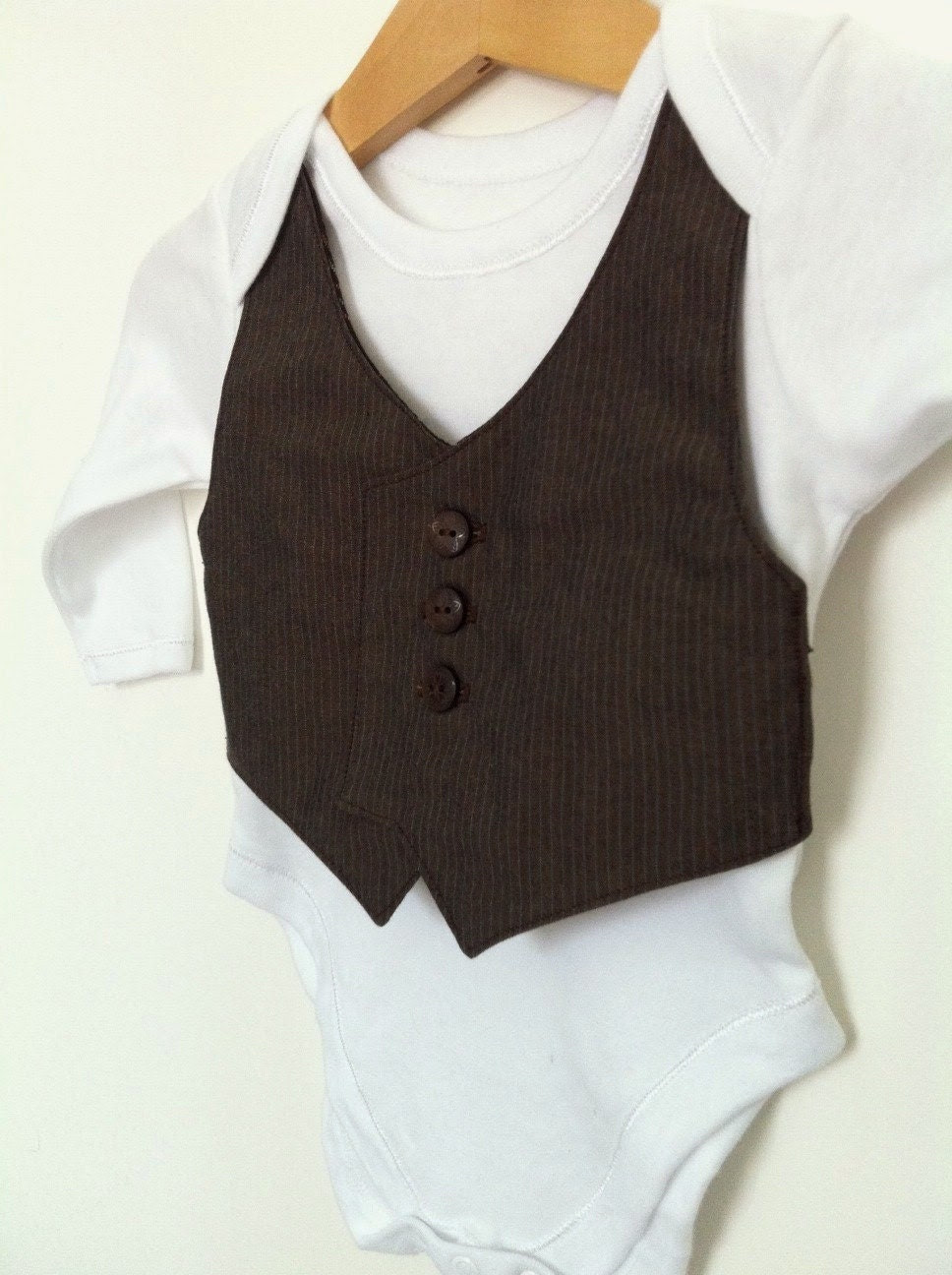 0-3mths baby waistcoat onesie/baby vest, long sleeved, brown stripe, upcycled, christening, , baby suit, smart baby