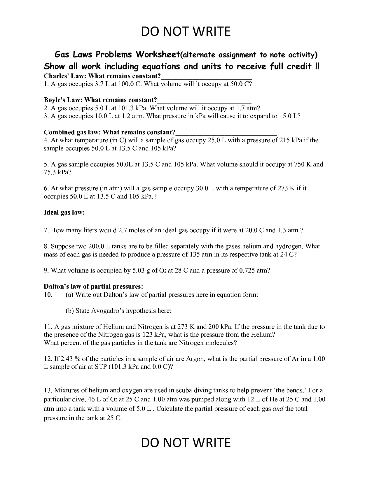 14 Best Images of Boyles Law Worksheet Answers  Ideal Gas Law Worksheet Answer Key, Boyles