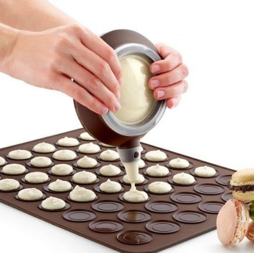 Macaron Kit - French Designed Macaron Kit - Orginal Design 48 Macaron Baking Sheet with Batter Dispenser