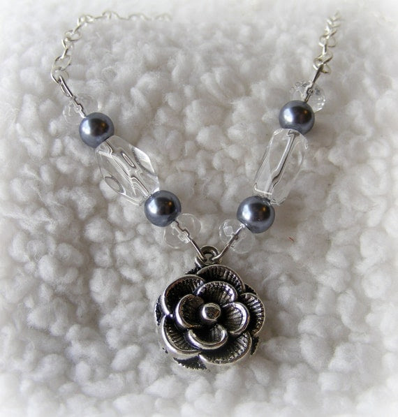 Necklace Silver, Pearls, and Glass