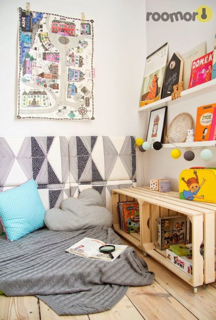 kids' reading corner with crates