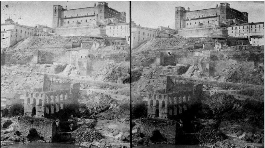Fotografía estereoscópica del Artificio de Juanelo antes de 1868 por Luis León Masson