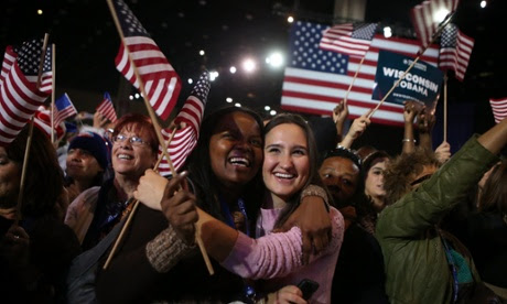 Then suddenly, it's all over.  Supporters of President Barack Obama in Chicago are overjoyed to hear that he has won  reelection against Republican candidate, Mitt Romney.  In the words of the President 'Four more years'.