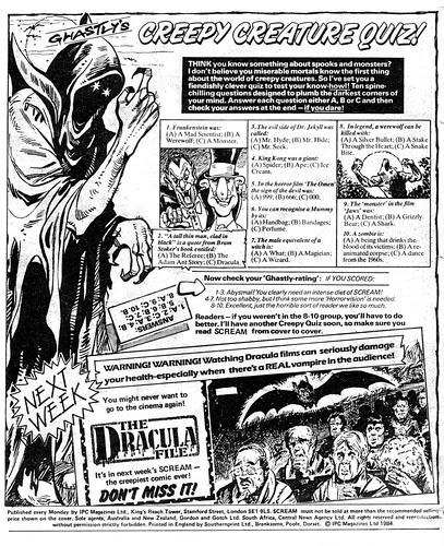 1984-04-07 Scream 03 31 Editorial - Ghastly's Creepy Creature Quiz (by senses working overtime)