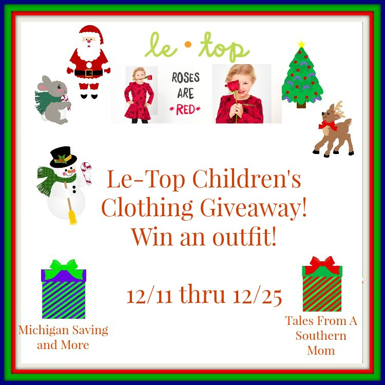 Enter the Le-Top Children's Clothing Giveaway. Ends 12/25