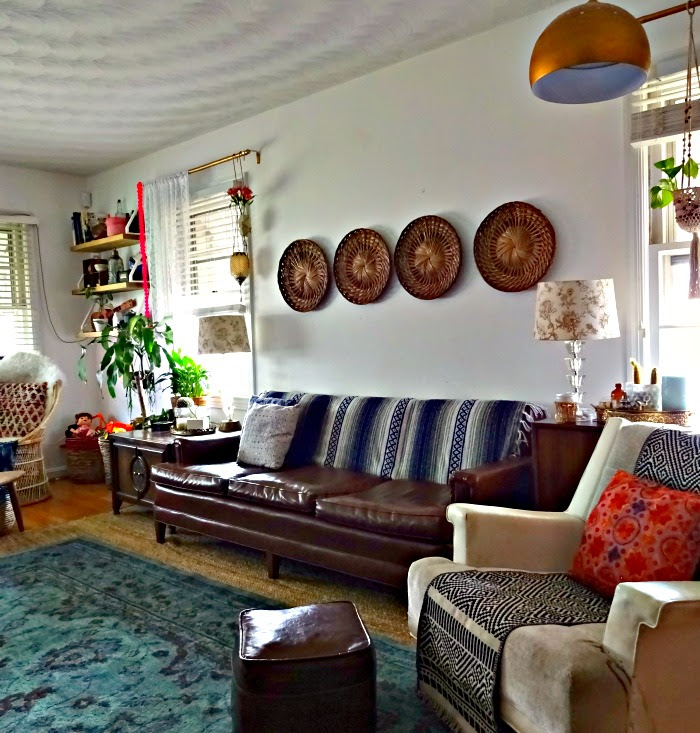 bohemian eclectic blogger's living room home tour