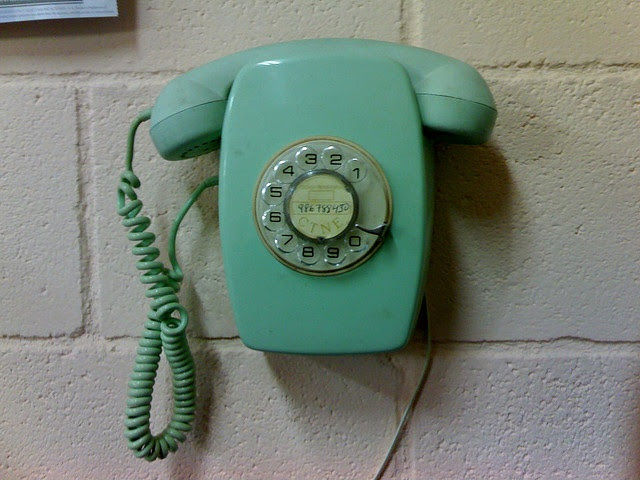 Call Me. Old turquoise phone.