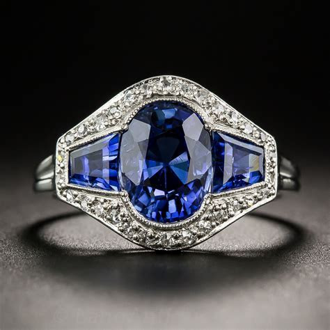 French Art Deco Sapphire and Diamond Ring