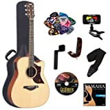 Yamaha A3M Acoustic-Electric Guitar with Yamaha Hard Case and Legacy Kit (Tuner, Picks, DVD and More)
