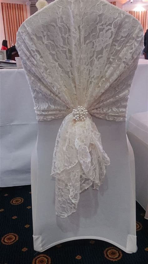 Ivory Lace Hood with Ivory Chair Cover   If I ever do