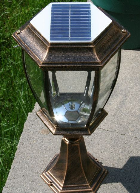Large Elegant Outdoor Solar powered LED Garden Yard Pillar ...