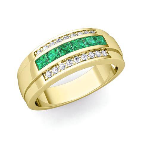 princess cut emerald diamond mens wedding band ring