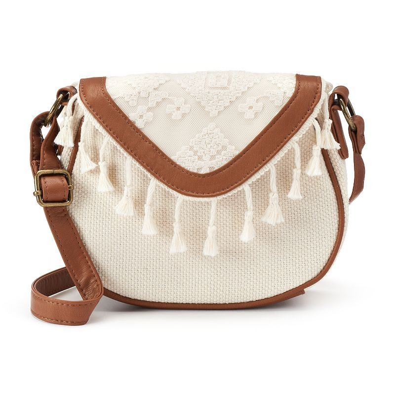 T-Shirt & Jeans Shades of Calm Crocheted Fringe Crossbody Bag, Women's, White Oth