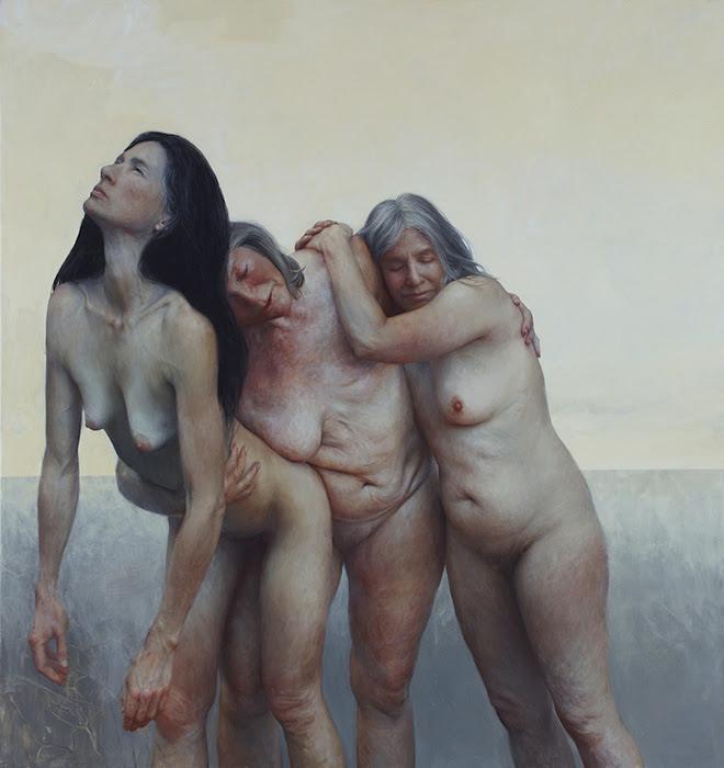 As três graças - Óleo sobre tela, 76 x 74 polegadas