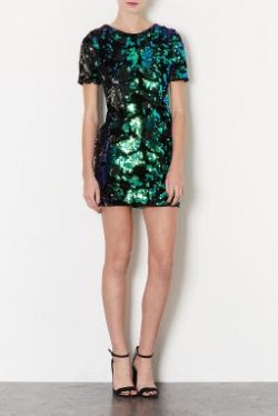 Topshop Sequin Velvet Dress