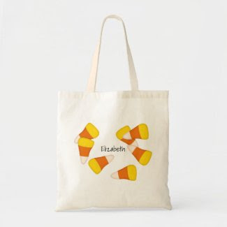 Halloween candy corn trick or treat tote bag