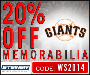 20% Off Giants Memorabilia at SteinerSports.com, code WS2014