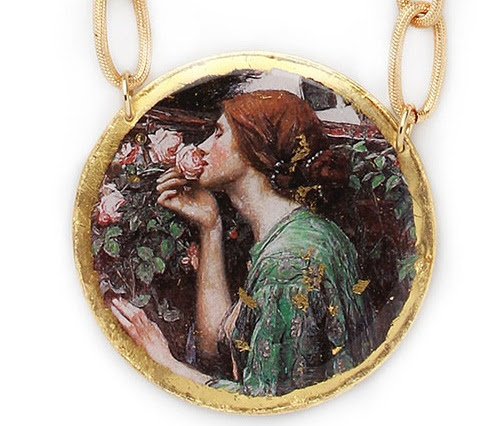Medallion with a reproduction of the painting Soul of Rose by artist John William Waterhouse