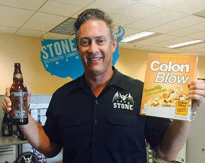 Stone Vice President of Sales Todd Karnig with a box of Colon Blow (yes, it exists!)