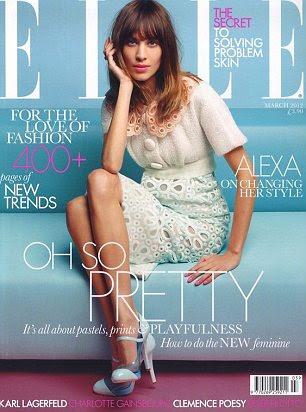 Alexa Chung na parte da frente da Elle Reino Unido este mês