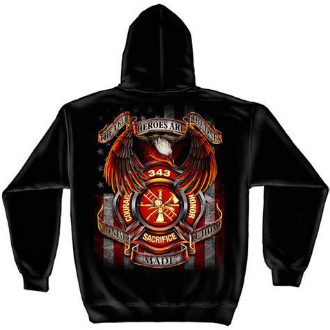 firefighter  true heroes black graphic hoodie