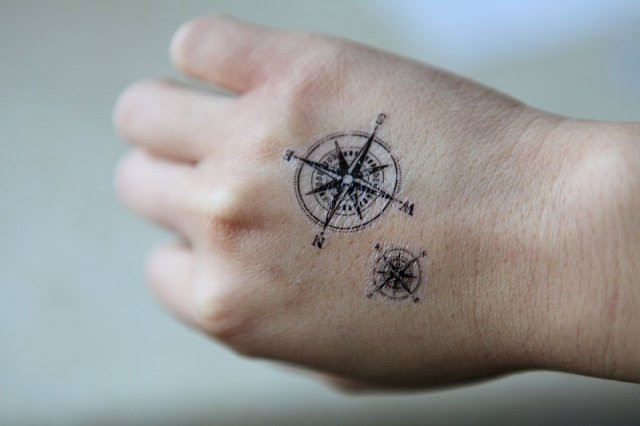 Attractive Compass Tattoo On Hand