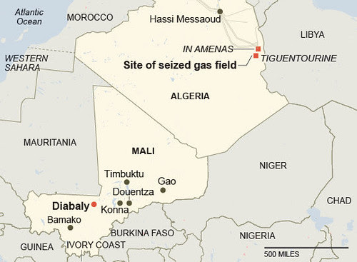 Map of gas field at Amenas in Algeria where a BP installation was seized by combatants. An attempt to end the takeover has resulted in the deaths of at least 81 people. by Pan-African News Wire File Photos