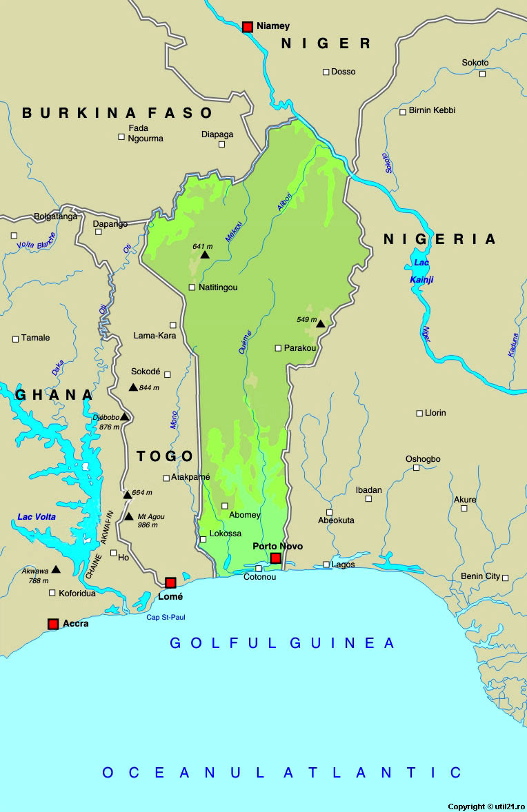 Map of Benin, maps,