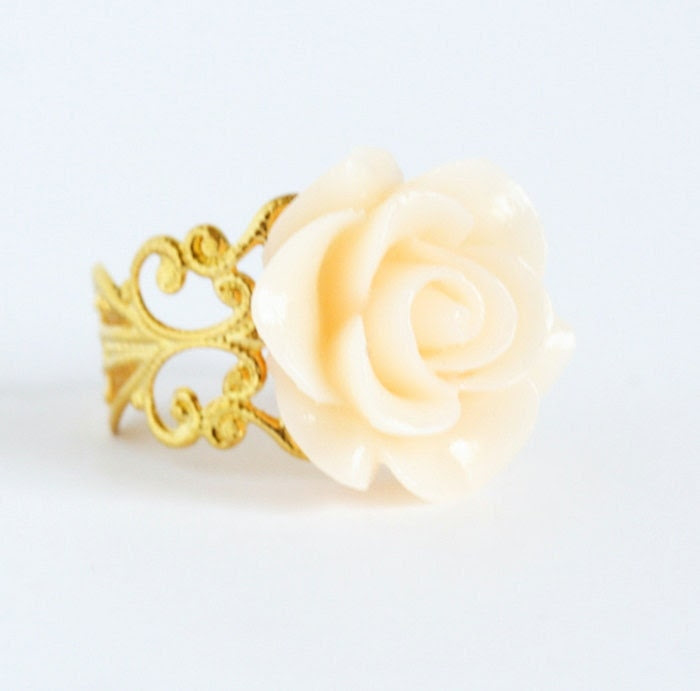 Ivory Flower Ring - Gold Plated Adjustable Filigree Ring With Large Ivory Flower