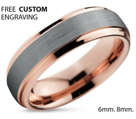 Tungsten Ring Rose Gold Wedding Band Ring Tungsten Carbide