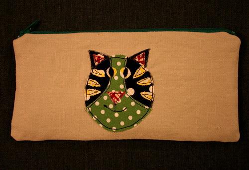 Appliqued linen pouch