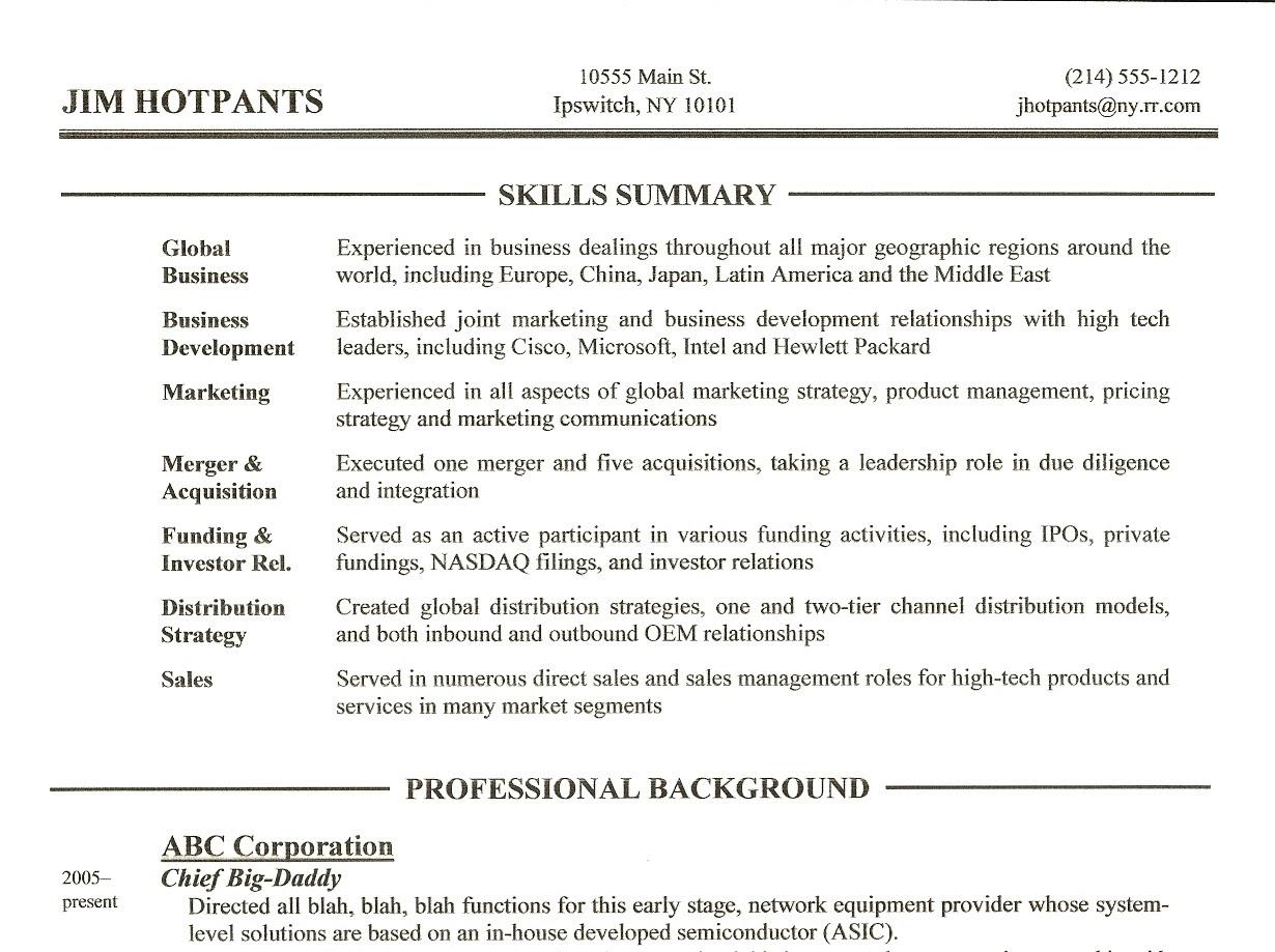 Sample Resume Skills Summary Rent Interpretomics Co