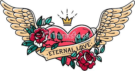 Tatuaje De Corazón Con Alas La Cinta Rosas Y Corona Vieja Escuela