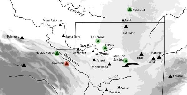 Mapa que muestra la ubicación de La Florida. En verde figuran los sitios aliados y en rojo los que tenían una posición antagónica.
