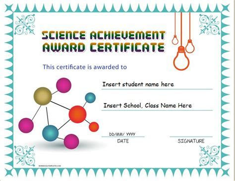 Science Achievement Award Certificates   Word & Excel