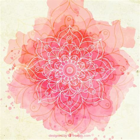 Fondo de esbozo de mandala de acuarela rosa   Descargar