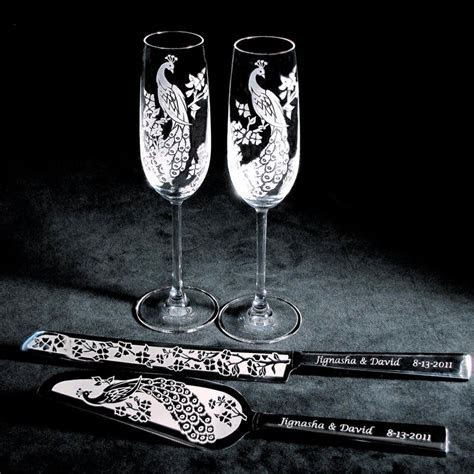 Peacock Wedding Cake Server and Knife, Champagne Flute Set