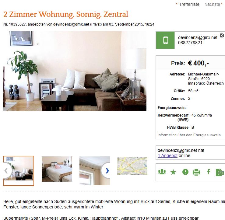 Wohnungsbetrug.blogspot.com: Devincenzi@gmx.net 0682778821