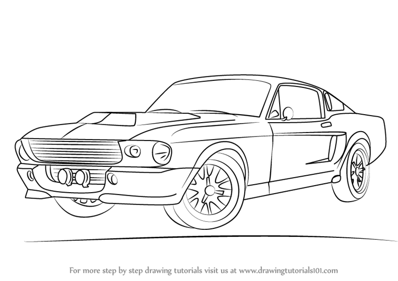how to draw 1968 Mustang step 0