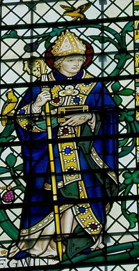 Stained glass image of St Egwin in the Worcester Cathedral - by Geoffrey Fuller Webb