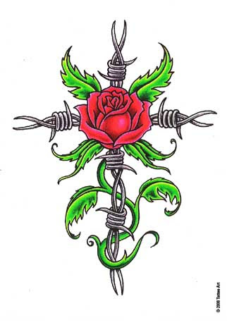 Barb Wire And Rose Tattoo Through Skin Free Design Ideas Dr Flash